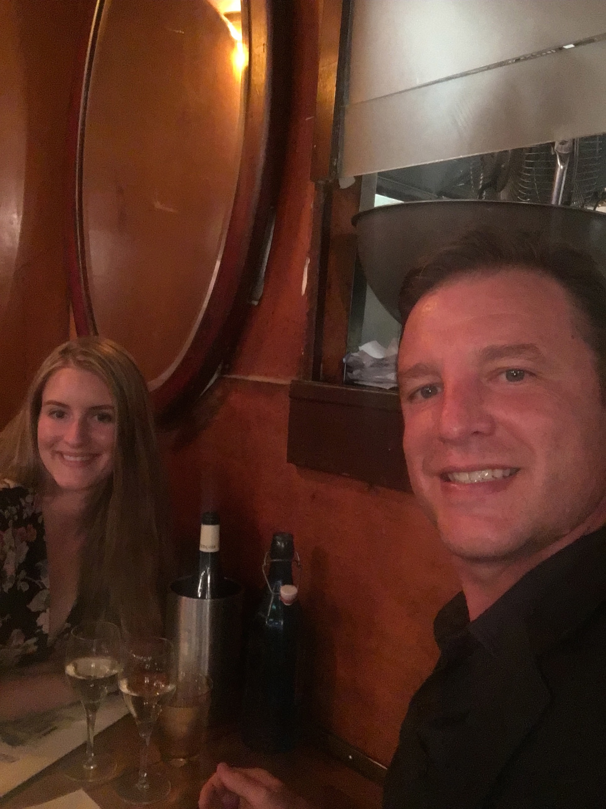My husband Dan and I at dinner at Bistrot d'Henri, one of our favorite restaurants in Paris