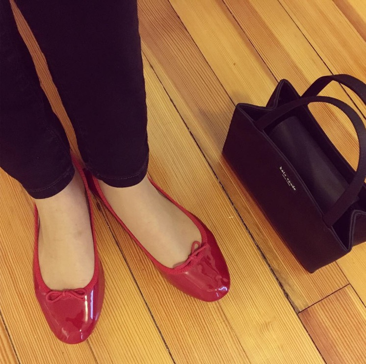 Classic red Repetto flats and Kate Spade bag