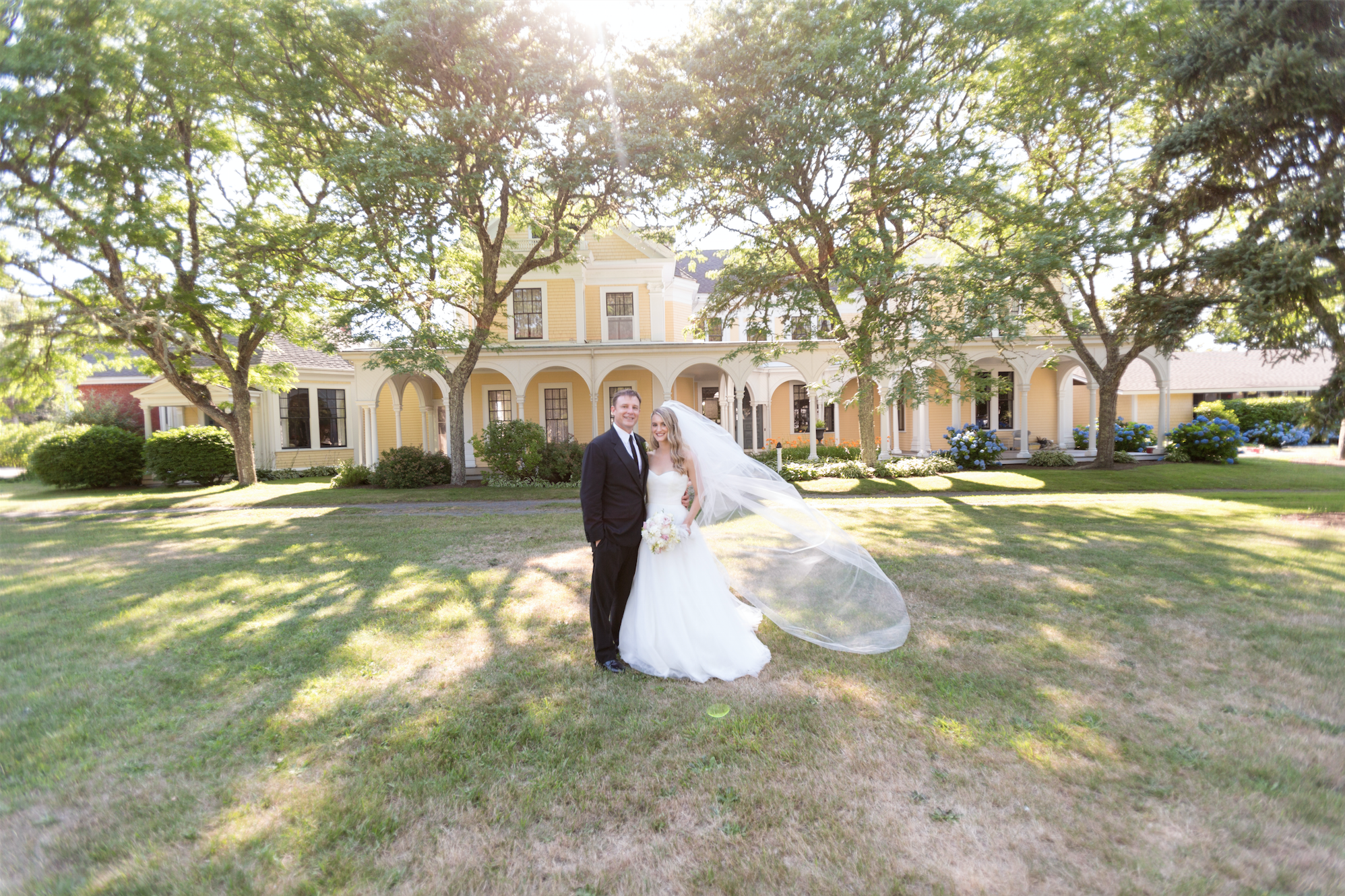 Bride and groom at Crosby Mansion in Brewster