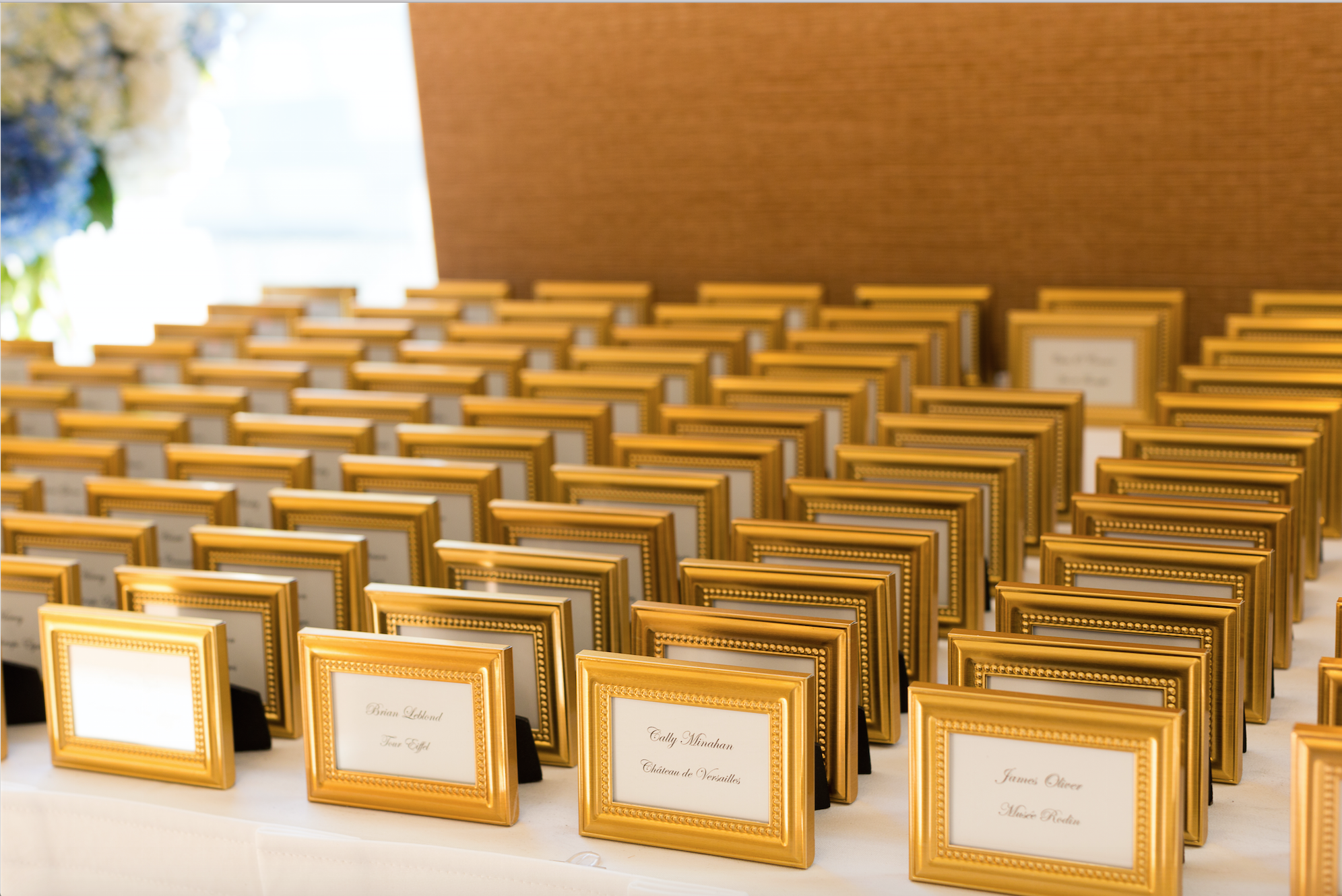 Gold place card frames