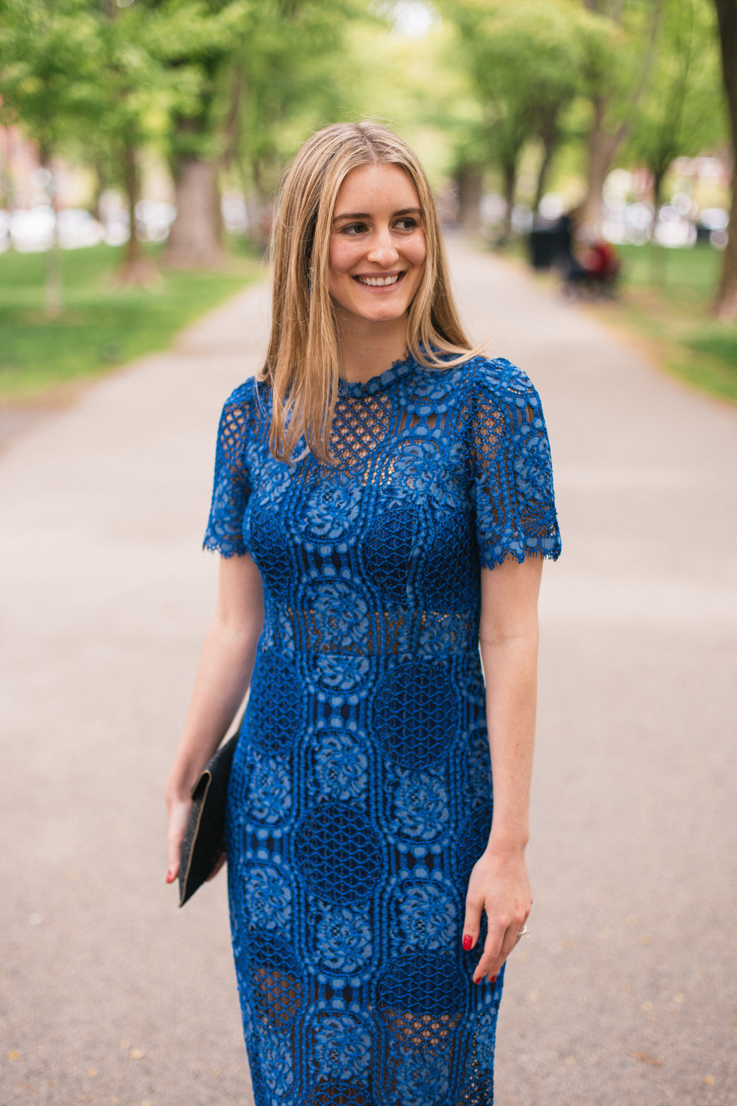 Lindsay Shores in Blue Lace Dress