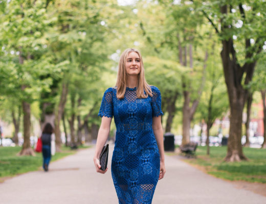 Fashion Blogger Lindsay Shores on Comm Ave in Boston