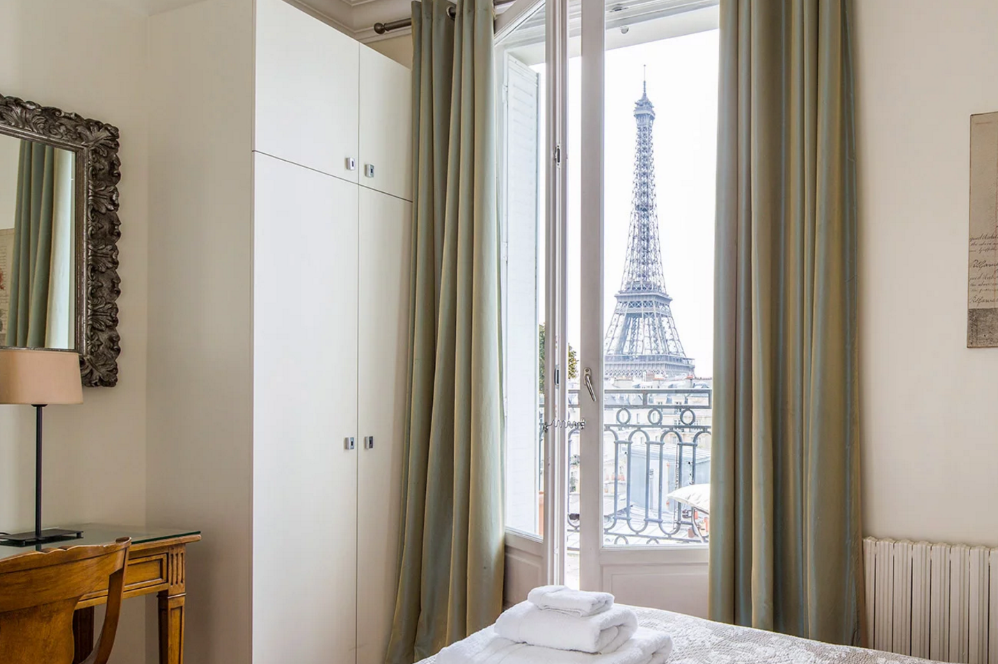 Paris Perfect master bedroom Eiffel Tower view